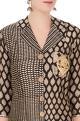 Black & white sanganeri printed kurta with exaggerated collar
