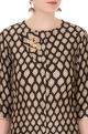 Black & white sanganeri printed zardozi embroidered kurta