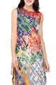 Multi-colored poly crepe printed tunic dress