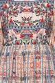 Multi-colored poly crepe printed midi dress