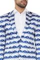 Blue & white geometric printed blazer
