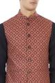 Red & yellow paisley printed nehru jacket