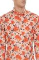 White & orange pure cotton floral printed long sleeve shirt