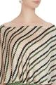Beige cotton satin printed off-shoulder striped blouse
