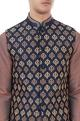 Navy blue poly raw silk embroidered bundi