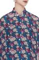 Blue floral printed cotton viscose batwing sleeve shirt