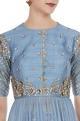 Sequin & pearl asymmetric kurta with skirt & net dupatta