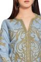 Jasmine Bains Steel grey organza gold embroidered jacket with flared georgette pants