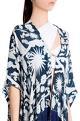 Shivan and Narresh White printed crepe & italian jersey izu juno printed cape with fringes