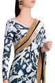 Shivan and Narresh White italian jersey izu juno printed tailored pleated skirt saree with beaten velvet