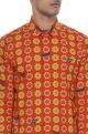 Red & yellow printed luxe cotton kurta shirt