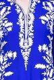 PrishaRoyal blue floral applique kurta set