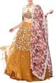 Bhumika SharmaMustard rose embroidered & floral printed lehenga set
