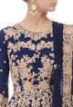 Royal blue & gold floral embroidered anarkali set