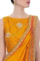 Mustard yellow sari with pants & blouse
