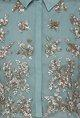 Kavita BhartiaTeal sequined crop top with floral embroidered maxi skirt