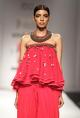 NikashaRed embroidered & ruffled top with cowl dhoti pants