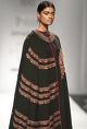 NikashaBlack embroidered long cape with top & printed sharara
