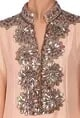 Manish MalhotraLight peach embellished tunic with palazzos