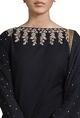 Black & beige embroidered kurta set