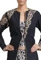 Black long jacket with beige printed trousers
