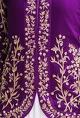 Prathyusha GarimellaPurple floral embroidered jacket with ivory gown