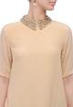 Beige collar-embellished dress