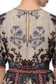 Ivory & multicolor printed motif midi dress