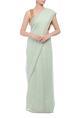 AnavilaSea green grid handwoven sari