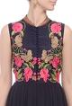 Black & pink embroidered yoke dress