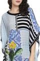 Falguni Shane PeacockBaby blue cactus & floral printed kaftan dress