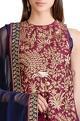 Sahil KochharWine & navy blue thread embroidered kurta and churidar set
