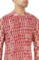 Red printed kurta with pleats