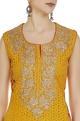 Mustard yellow sleeveless kurta with palazzos & dupatta