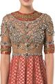 ROCKY STAR Sheer embroidered bodice brocade gown