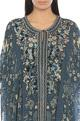 Floral print & embroidered kaftan tunic with churidar