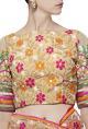 Nishka LullaBeige & coral floral resham embroidered sari