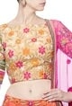 Nishka LullaBeige & coral resham embroidered lehenga set