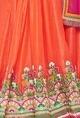 Coral, beige & raani resham embroidered lehenga set