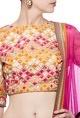 Nishka LullaCoral, beige & raani resham embroidered lehenga set