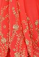 NikashaCoral red embroidered sari