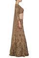 Astha NarangBrown and gold sequins embellished lehenga set