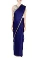 Manish Malhotra Royal blue sari with tasseled blouse