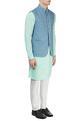 Philocaly Blue printed Nehru jacket