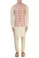 Off-white & pink Nehru jacket