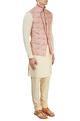 PhilocalyOff-white & pink Nehru jacket