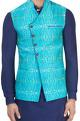 Aqua blue printed Nehru jacket
