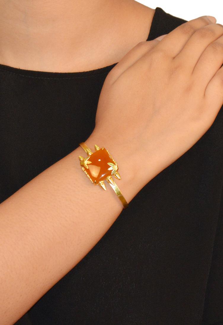 KistaGold finish amber leaf stone cuff