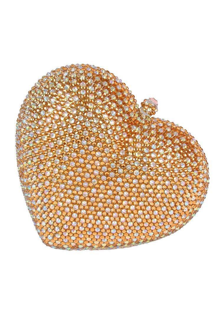 Crystal CraftGold heart rhinestone clutch