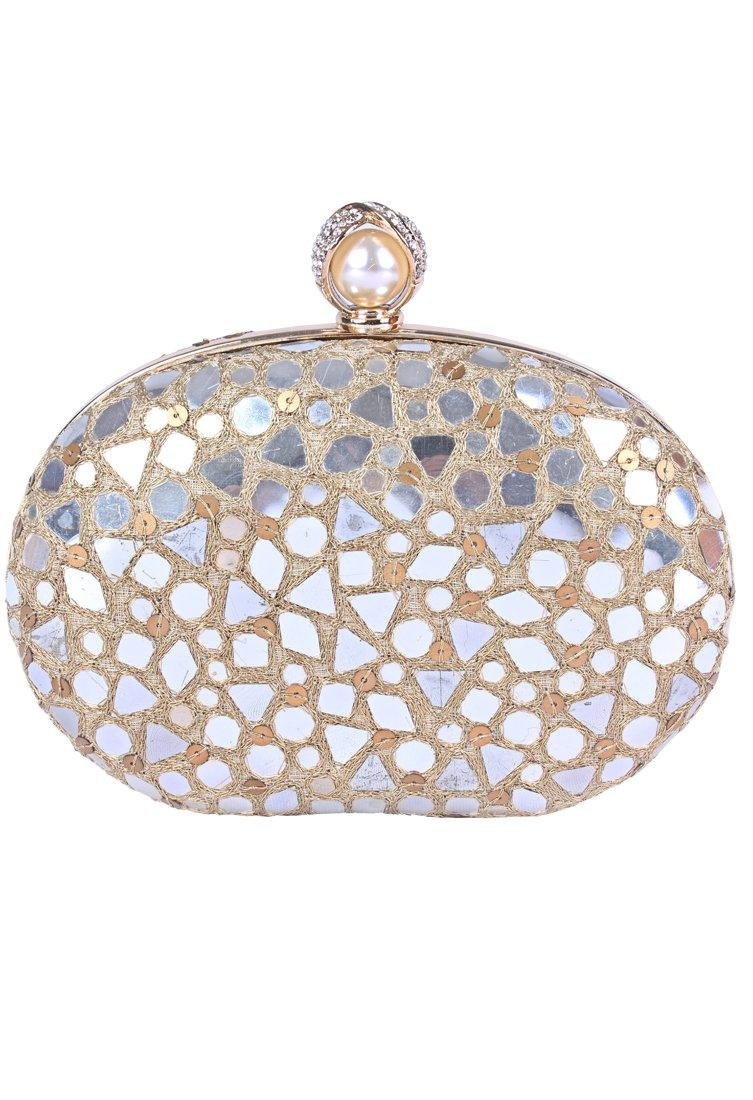 Beau MondeBeige mirror work clutch